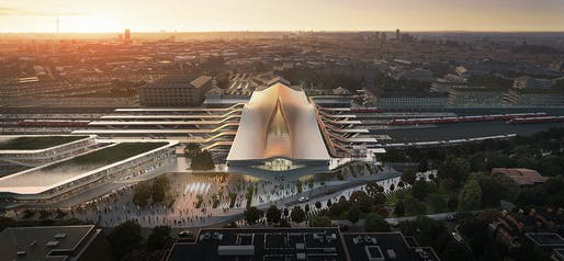 """Rendering of Zaha Hadid Architects' winning proposal, """"Green Connect."""" Render by Negativ, image courtesy of ZHA."""