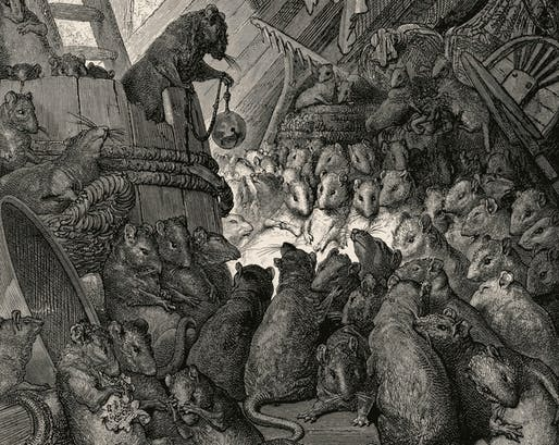 "A new study found that New York city rats carry (even more) diseases (than one may imagine). Image: Detail of ""The Council of Rats"" by Gustave Doré"