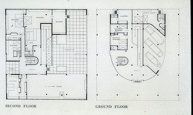 Villa Savoye, ground flr and second flr plans, servants quarters on ground flr with garage and laundry