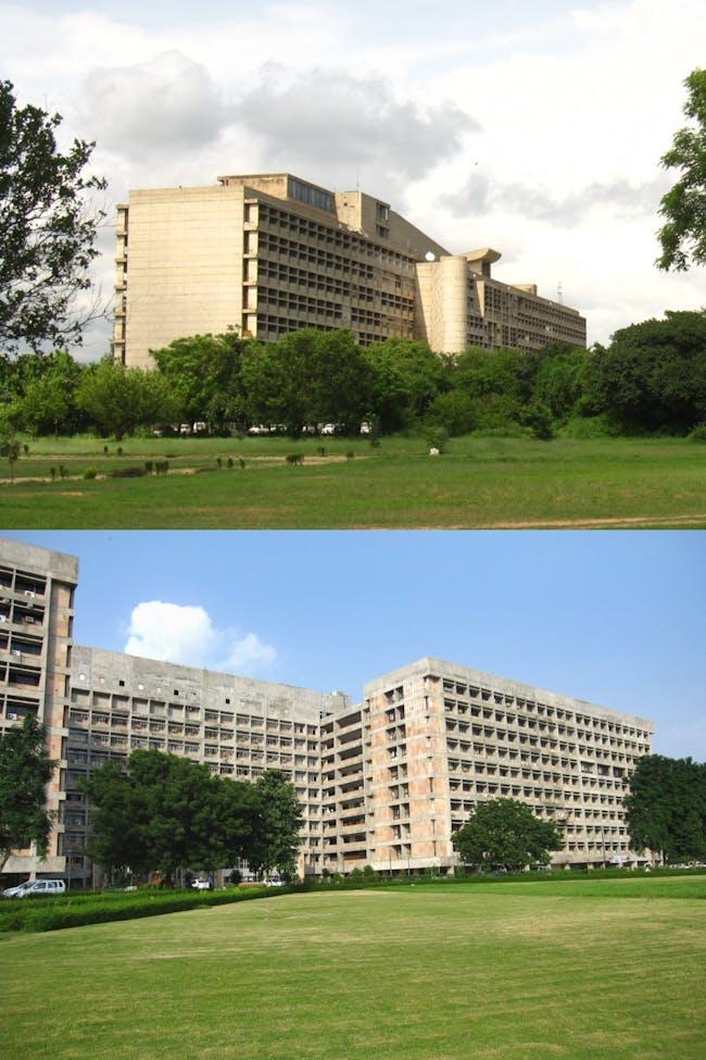 Top: Corbu's decency to break up the façade Bottom: A drab Gandhinagar