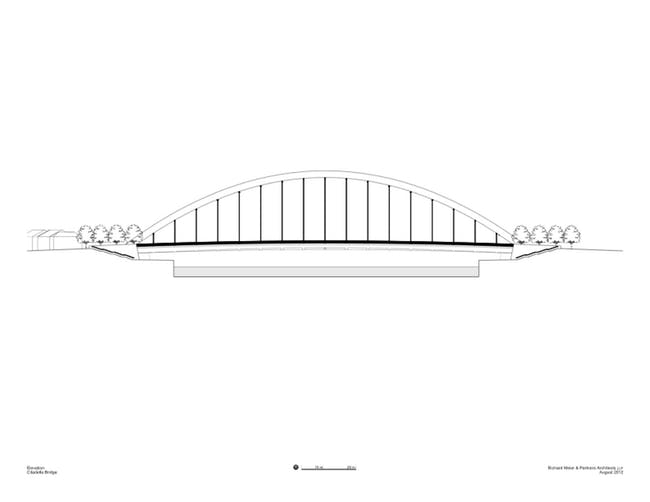 Citadella Bridge, elevation. Image Courtesy Richard Meier & Partners Architects.