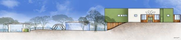 Lotus Wellness Community Exterior Elevation - North: AutoCAD, Adobe Photoshop