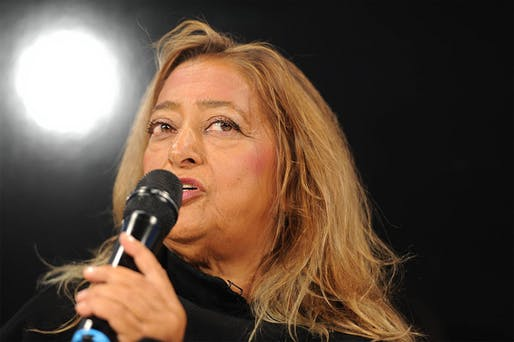 """Zaha Hadid speaking at the DLD13 conference """"patterns that connect"""" in Munich (Photo: picture alliance/Jan Haas)"""