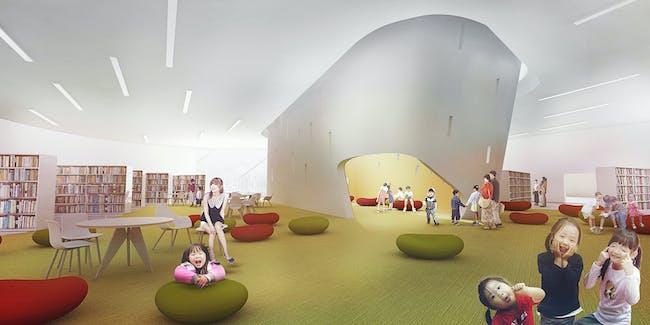 Library interior (Image: Patrick Tighe Architecture)