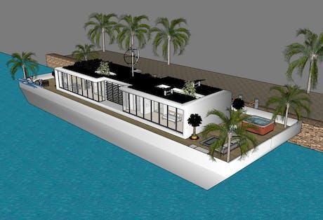 The white houseboat of Bauhaus