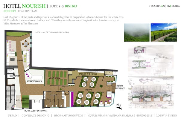 Concept, Floor Plan, Inspiration and Sketches- Lobby and Bistro
