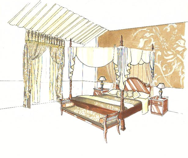 Proposal for a Bedroom in Melville Castle Hotel - Competition.