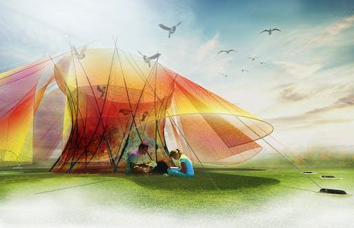 """2018 City of Dreams Pavilion finalist: """"Color Waves Pavilion"""" by Shujie Chen, Xiao Tong, Ning Wang, Yifeng Wang, Yifeng Wu, Bowen Zhang, Matthew Streeter, Jingwen Wang, and Sam Wilson."""