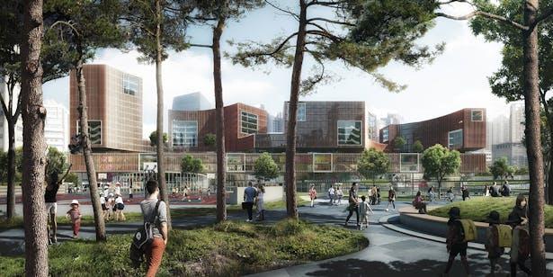 West Shanghai Worker's Cultural Palace_schmidt hammer lassen architects_Park View