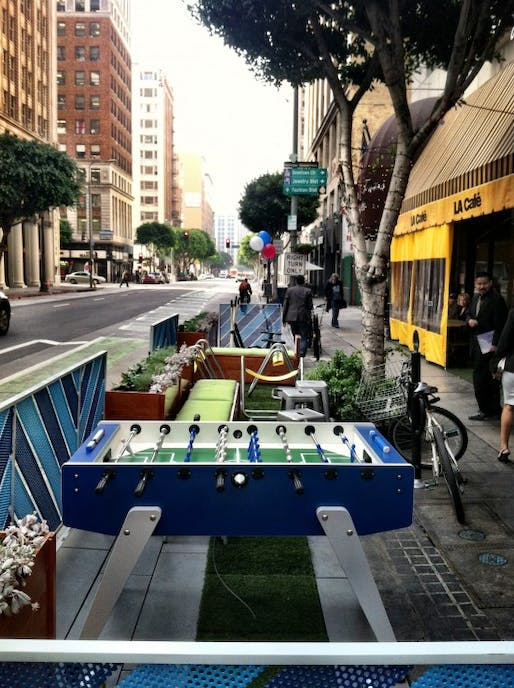 One of Los Angeles' first parklets, located on Spring St. in Downtown. Photo credit: Sam Lubell for the Architect's Newspaper.