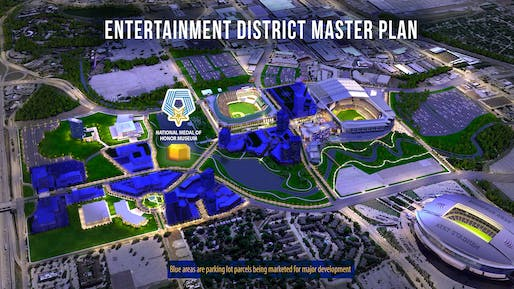The Arlington, TX Entertainment District Master Plan showing the location of the future National Medal of Honor Museum
