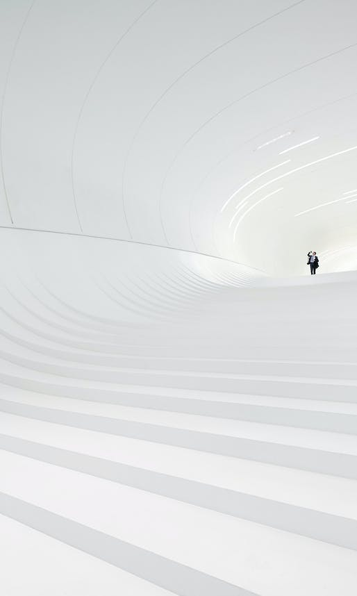 Arcaid Images Architectural Photography Awards 2014 Overall Winner and Interiors: Heydar Aliyev Centre Cultural Centre by Zaha Hadid Architects. Photo by Hufton and Crow.