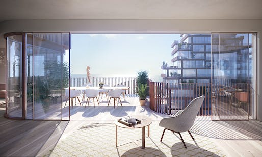 The easily openable façade allows for the living room to spill out onto the terrace during warmer weather. Credit: 3XN.