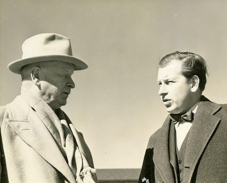 Eliel Saarinen and his son, Eero Saarinen, ca. 1941 Credit: Cranbrook Archives. Courtesy of ADFF.