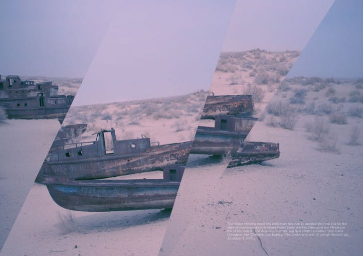 One of the opening spreads in 'the Geologic Imagination' reveals, in fragmented form, what was once the Aral Sea until it was drained by the USSR for the sake of cotton production. Credit: The Geologic Imagination / Sonic Acts