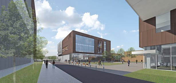 View of the Basketball Practive Facility from the exterior Plaza.