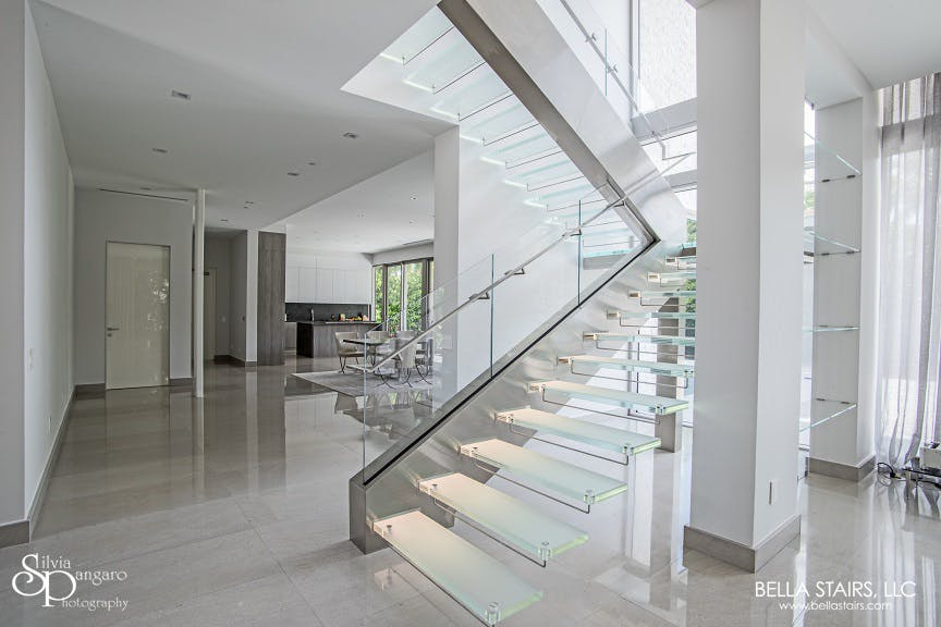 Our Cantilevered Staircase Design Features Frosted Glass Treads with LED  Lighting!