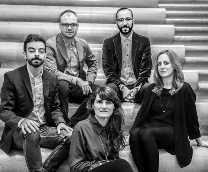 The curatorial team of the Oslo Architecture Triennale 2016. Clockwise from left: Ignacio G. Galán, Carlos Mínguez Carrasco, Lluís A. Casanovas Blanco, Marina Otero Verzier, Alejandra Navarrete Llopis. Credit: Oslo Architecture Triennale
