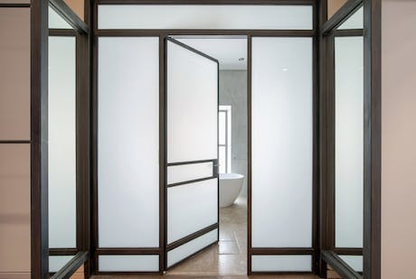 steel and glass bath entry