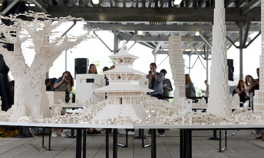People constructing a utopian city out of legos for the 'Collectivity Project,' by Olafur Eliasson and hosted by the High Line. Credit: the High Line