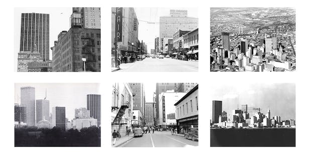 Historic images of the 1400 block of Elm prior, during, and after the construction of the First National Bank Tower.