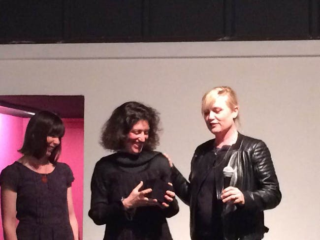 From L to R: Emily Bills, Hélène Binet, and Barbara Bestor during the award presentation. Photo: Justine Testado