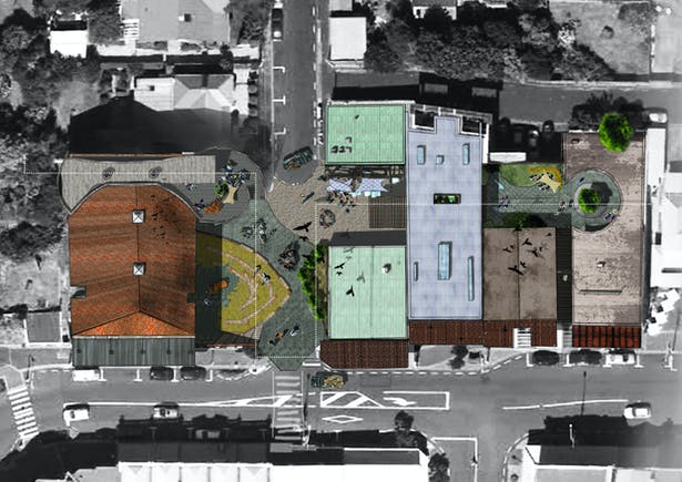 Establishing new connections with surrounding art spaces by proposing secondary pedestrian only elevated walkway.