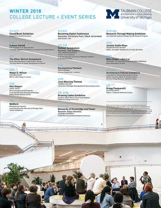 Image: Town Hall, Taubman College Commons in the new A. Alfred Taubman Wing.​ Poster courtesy of University of Michigan Taubman College.