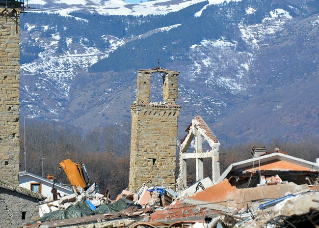 Amatrice, in Amatrice, Italy. The bell tower of the medieval church of Sant'Emidio survived the earthquake of August 24, 2016 and subsequent tremors, 2017. Photo: MIBACT
