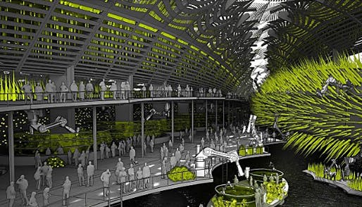 Hydramax is billed by its designer, San Francisco's Future Cities Lab, as 'a synthetic architecture ... that blurs the distinction between building, landscape, infrastructure and machine.' The model and drawings are on display through July 29 at the San Francisco Museum of Modern Art. (Image...