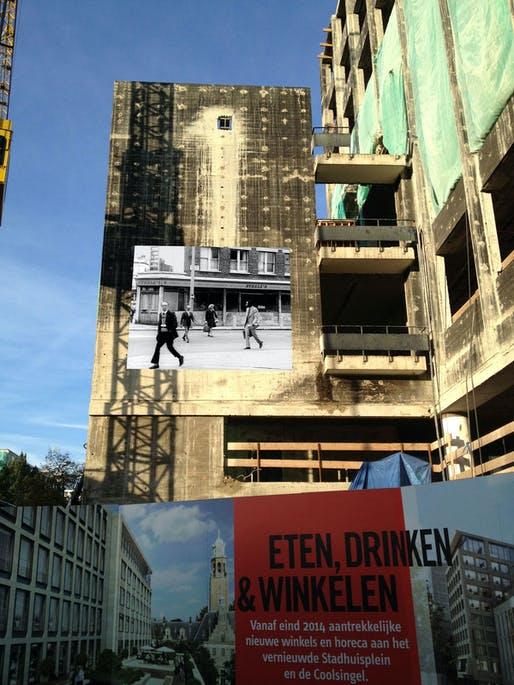'The Girl Chewing Gum' on the Coolsingel, image via Elsbeth Grievink.
