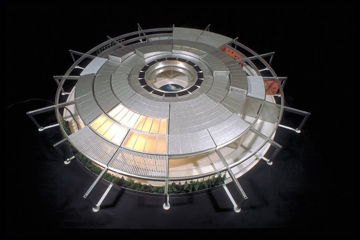 The Ephemeral House designed in 1997: In this proposal, all of the floor, wall, and roof sections can be rotated around a central open courtyard in order to change the structure to accommodate the changing needs of the occupants. Also mounted around the center courtyard on the roof are...