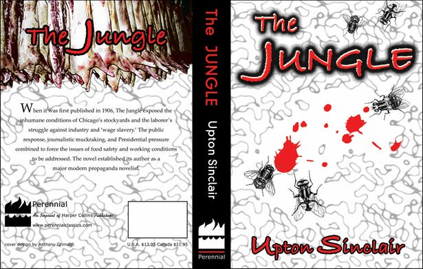 This piece is a book cover for the novel 'The Jungle'.