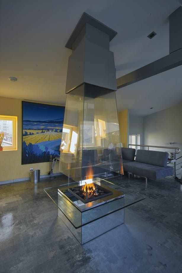 Bloch Design suspended glass fireplace 6