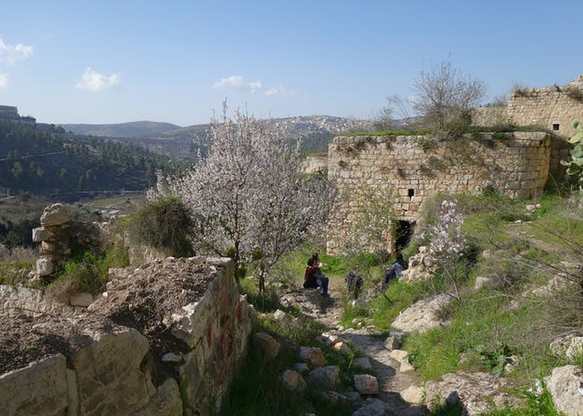 Lifta, a traditional Palestinian village, in Jerusalem, Israel. Narrow paths wind among ruined stone buildings at Lifta, 2017