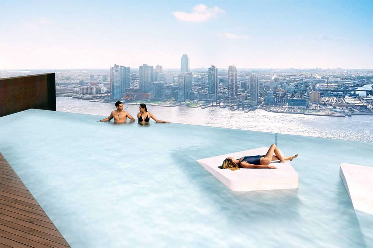 Marina Bay Sands lite: rendering of the infinity pool on the American  Copper Buildings east