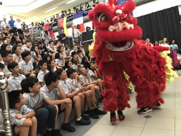 Students performed lion dance to celebrate