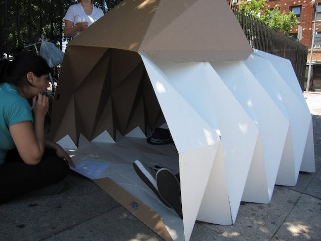 The Cardborigami team putting their innovation to the test at Skid Row in Los Angeles.