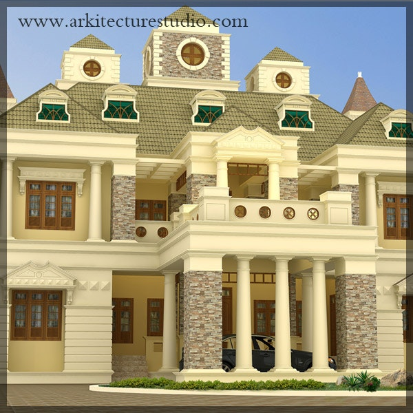 Colonial Style Luxury Kerala Home Design