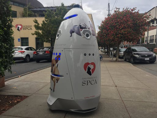 The San Francisco animal advocacy group SPCA was ordered by the city to keep their security robot off the public sidewalk around its Mission campus. Image: Knightscope.