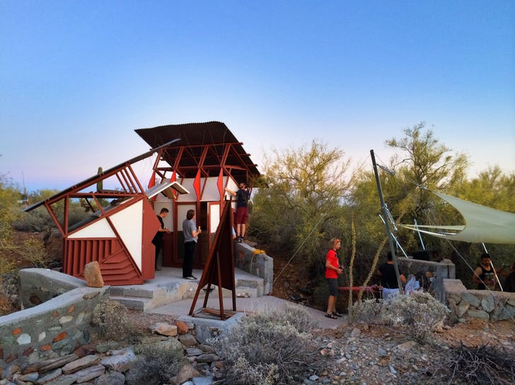Reception at the new 'Little Maps' desert shelter, Taliesin West. Photo by Jason Silverman.