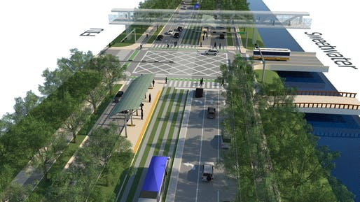 A rendering of Sweetwater, Florida's Eighth Street, reimagined as a tree-lined boulevard. Image: Dover, Kohl & Partners.