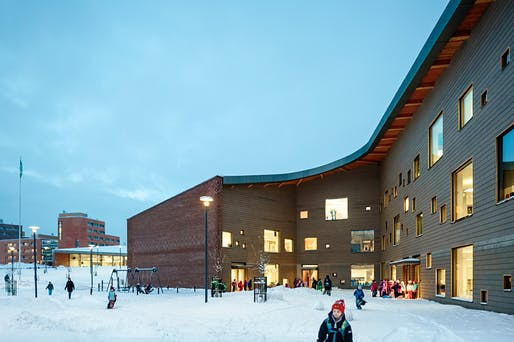 Completed last fall in Espoo, Finland: Saunalahti comprehensive school by VERSTAS Architects; Photo: Tuomas Uusheimo