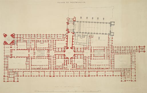 Palace of Westminster plans; Image via wikicommons