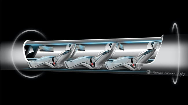 Hyperloop passenger capsule version cutaway with passengers onboard. Courtesy of Elon Musk/SpaceX