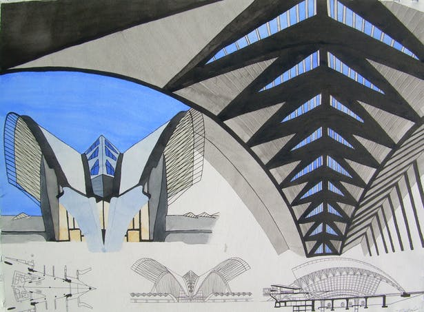 watercolor of Lyon TGV Station by Calatrava