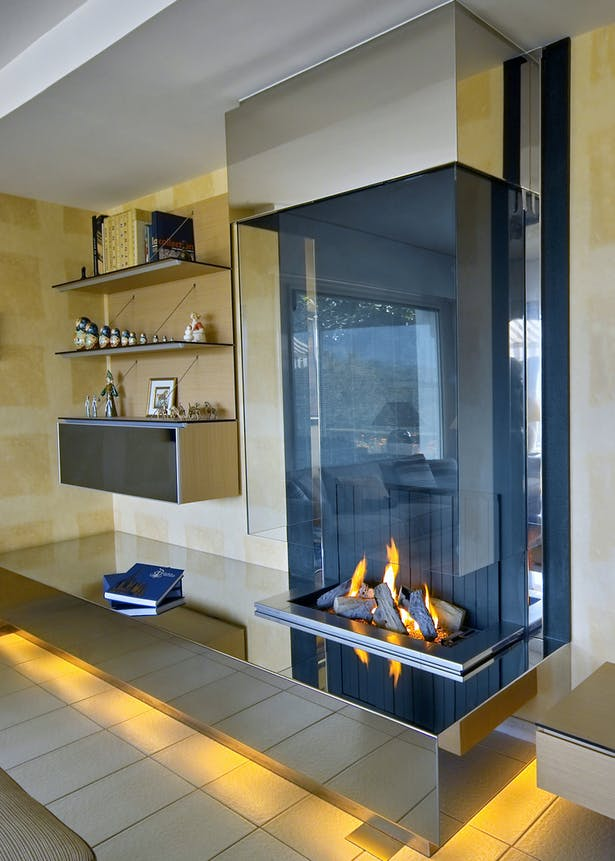 Bloch Design contemporary fireplace stainless steel 7
