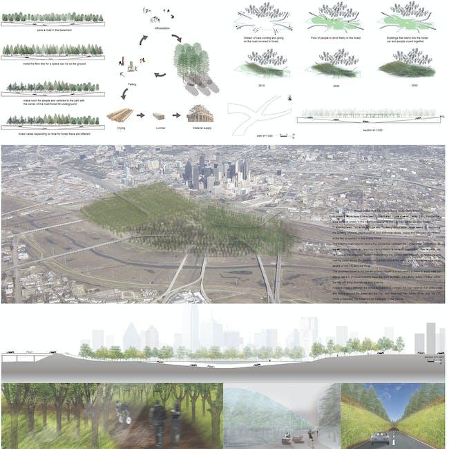 Kohki Hiranuma of Kohki Hiranuma Architect & Associates, Osaka, Japan: 'Forest.' Image via Dallas Connected City Design Challenge.