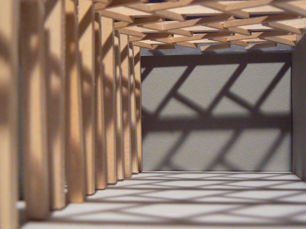 Shadow play on floor and columns