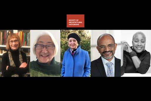 (L-R) Zeynep Çelik, Lynne Horiuchi, Karen Kingsley, Steven Nelson, and Mabel O. Wilson. Image courtesy of SAH